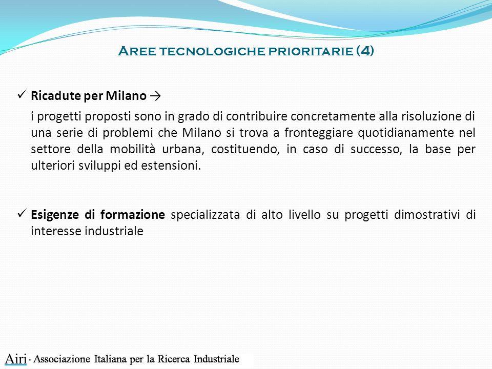 Aree tecnologiche prioritarie (4) Ricadute per Milano i progetti proposti sono in grado di contribuire concretamente alla risoluzione di una serie di
