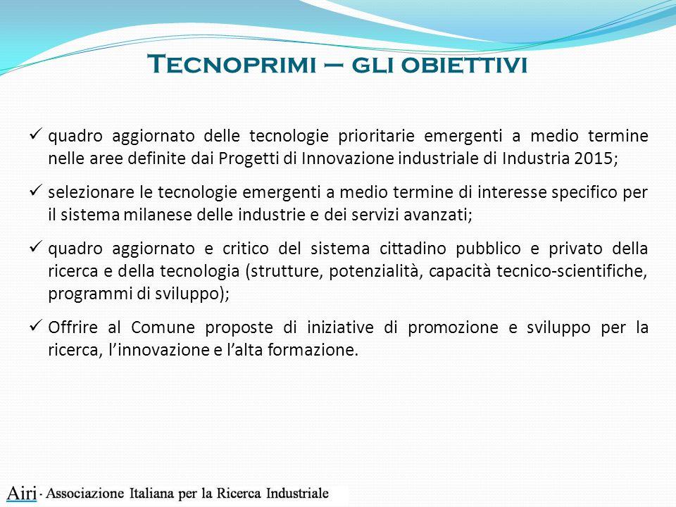 Tecnoprimi – gli obiettivi quadro aggiornato delle tecnologie prioritarie emergenti a medio termine nelle aree definite dai Progetti di Innovazione in