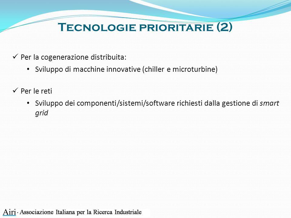 Tecnologie prioritarie (2) Per la cogenerazione distribuita: Sviluppo di macchine innovative (chiller e microturbine) Per le reti Sviluppo dei componenti/sistemi/software richiesti dalla gestione di smart grid