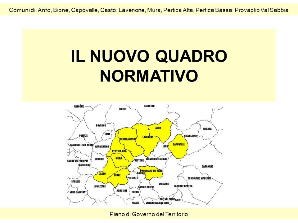 IL NUOVO QUADRO NORMATIVO Comuni di: Anfo, Bione, Capovalle, Casto, Lavenone, Mura, Pertica Alta, Pertica Bassa, Provaglio Val Sabbia Piano di Governo