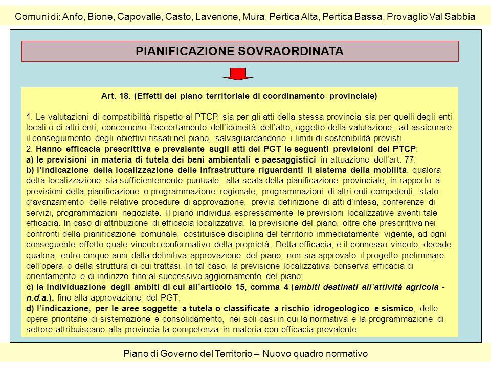 Comuni di: Anfo, Bione, Capovalle, Casto, Lavenone, Mura, Pertica Alta, Pertica Bassa, Provaglio Val Sabbia Piano di Governo del Territorio – Nuovo qu