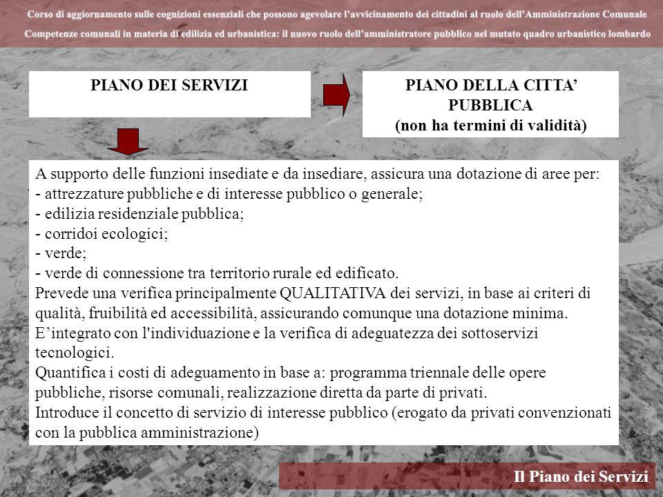 Il Piano dei Servizi PIANO DEI SERVIZI A supporto delle funzioni insediate e da insediare, assicura una dotazione di aree per: - attrezzature pubblich