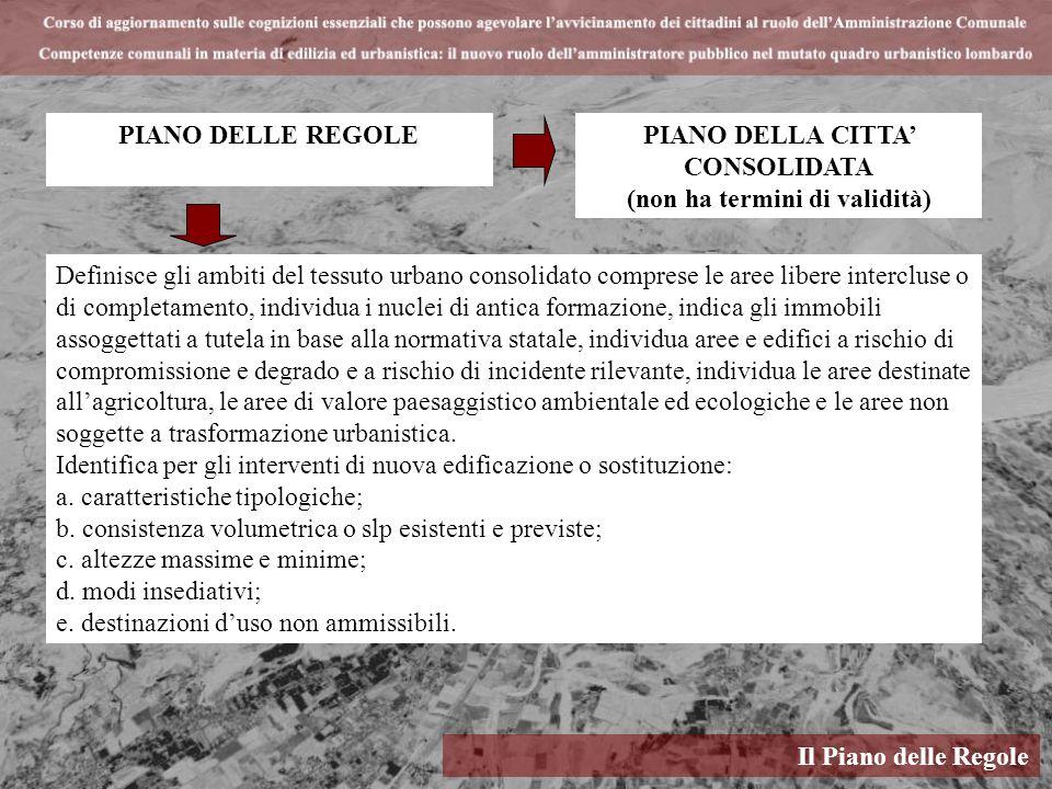 Il Piano delle Regole PIANO DELLE REGOLE Definisce gli ambiti del tessuto urbano consolidato comprese le aree libere intercluse o di completamento, in