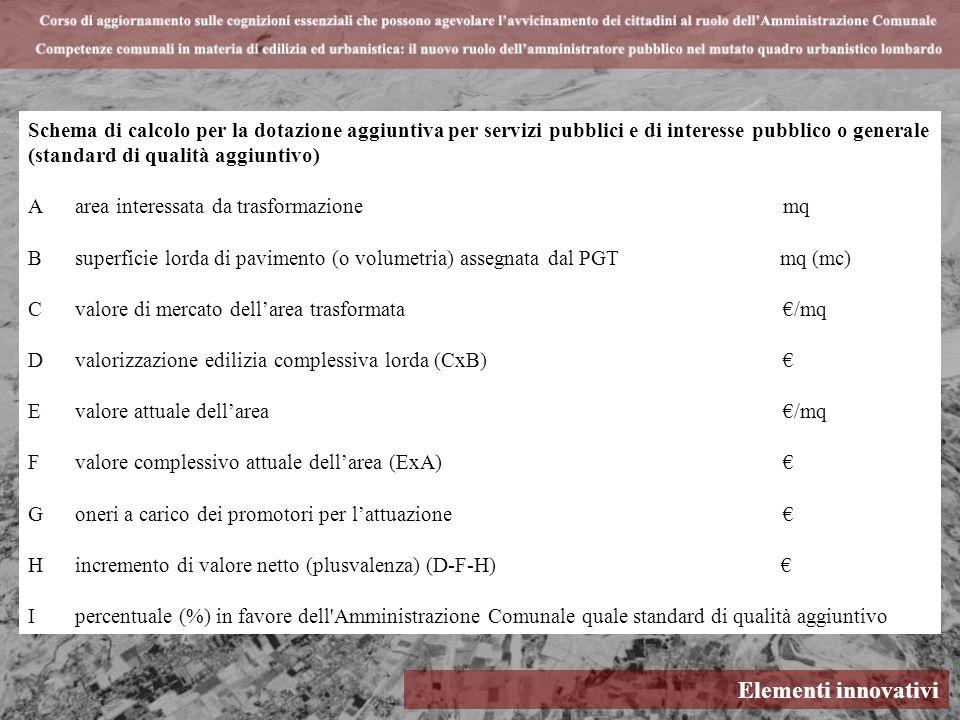 Elementi innovativi Schema di calcolo per la dotazione aggiuntiva per servizi pubblici e di interesse pubblico o generale (standard di qualità aggiunt