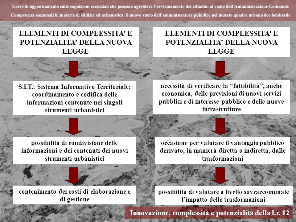 Innovazione, complessità e potenzialità della l.r. 12 ELEMENTI DI COMPLESSITA E POTENZIALITA DELLA NUOVA LEGGE S.I.T.: Sistema Informativo Territorial