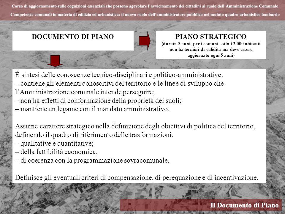 Il Documento di Piano DOCUMENTO DI PIANO È sintesi delle conoscenze tecnico-disciplinari e politico-amministrative: – contiene gli elementi conoscitiv