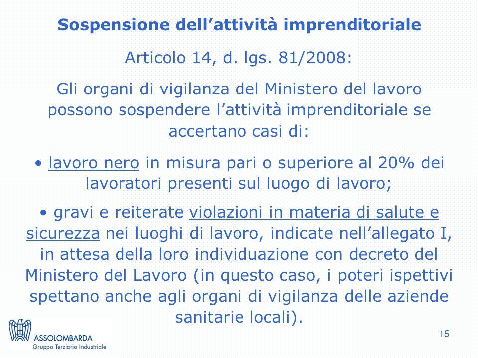 15 Sospensione dellattività imprenditoriale Articolo 14, d. lgs. 81/2008: Gli organi di vigilanza del Ministero del lavoro possono sospendere lattivit