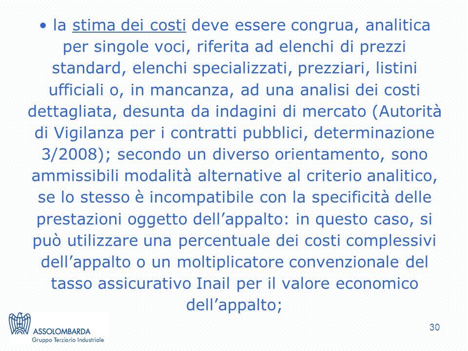 30 la stima dei costi deve essere congrua, analitica per singole voci, riferita ad elenchi di prezzi standard, elenchi specializzati, prezziari, listi