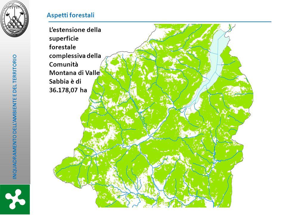 INQUADRAMENTO DELLAMBIENTE E DEL TERRITORIO Aspetti forestali Lestensione della superficie forestale complessiva della Comunità Montana di Valle Sabbi