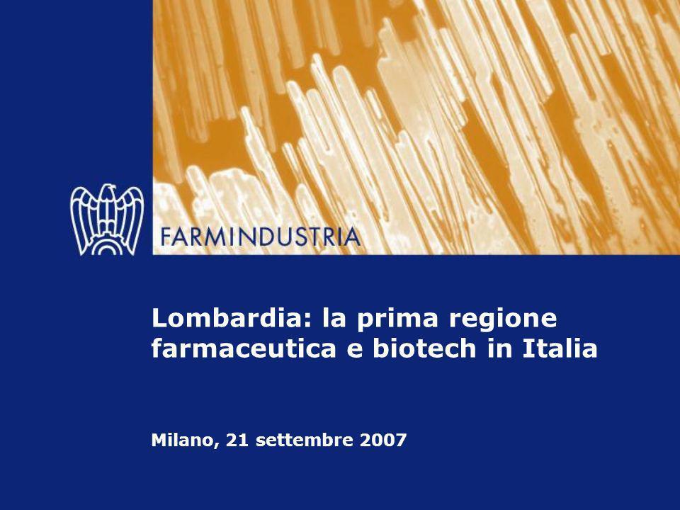 Lombardia: la prima regione farmaceutica e biotech in Italia Sede di più di 100 imprese del farmaco, 32 centri R&S, più di 60 stabilimenti.