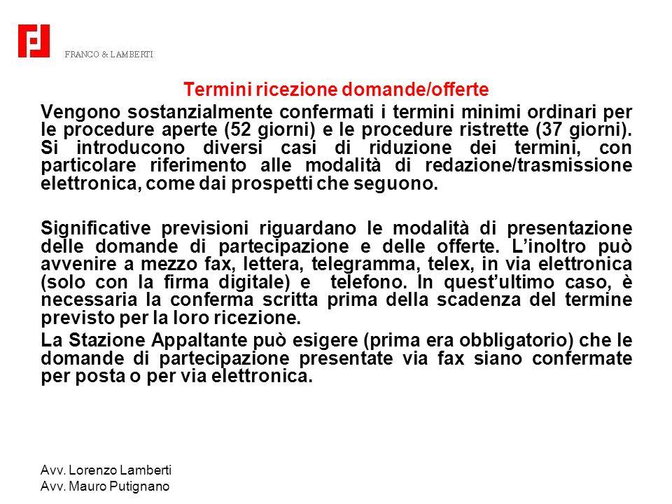 Avv. Lorenzo Lamberti Avv. Mauro Putignano Termini ricezione domande/offerte Vengono sostanzialmente confermati i termini minimi ordinari per le proce