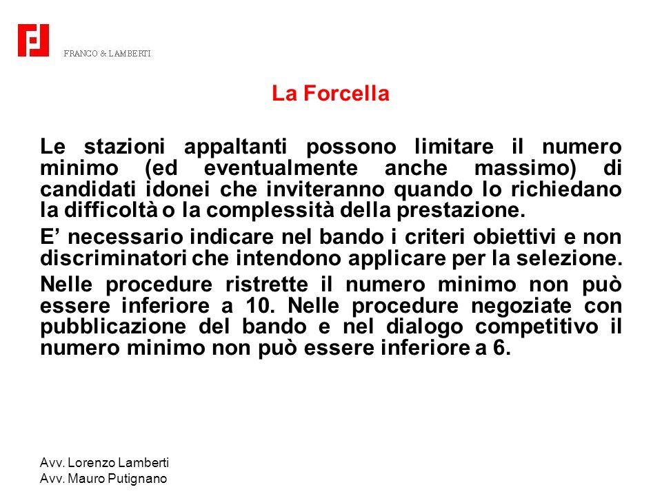 Avv. Lorenzo Lamberti Avv. Mauro Putignano La Forcella Le stazioni appaltanti possono limitare il numero minimo (ed eventualmente anche massimo) di ca