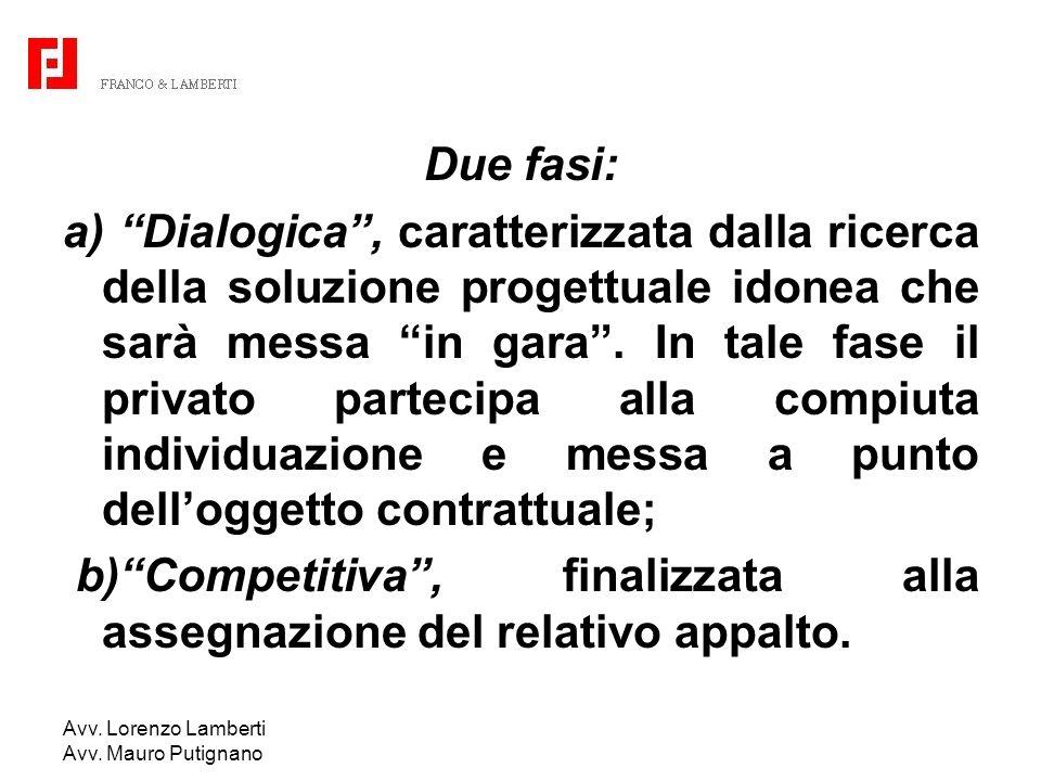 Avv. Lorenzo Lamberti Avv. Mauro Putignano Due fasi: a) Dialogica, caratterizzata dalla ricerca della soluzione progettuale idonea che sarà messa in g
