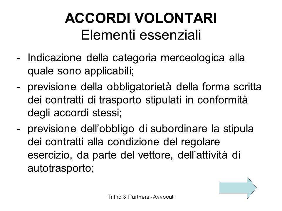 Trifirò & Partners - Avvocati ACCORDI VOLONTARI Elementi essenziali -Indicazione della categoria merceologica alla quale sono applicabili; -previsione