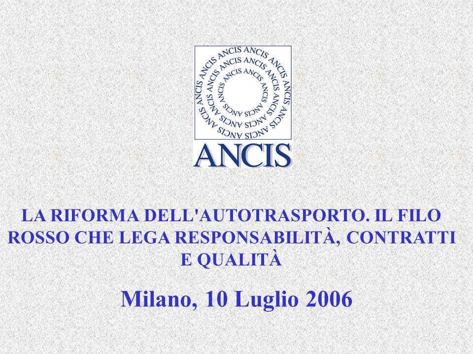 Milano, 10 Luglio 200612 SEMINARIO LA RIFORMA DELL AUTOTRASPORTO IL SISTEMA VA OLTRE LA MERA CONFORMITÀ AD UN MODELLO, PER DIVENIRE UNO STRUMENTO GESTIONALE ED ORGANIZZATIVO, CHE DÀ UN IMPORTANTE CONTRIBUTO ALLA GESTIONE DEI COSTI E DEI RISCHI.