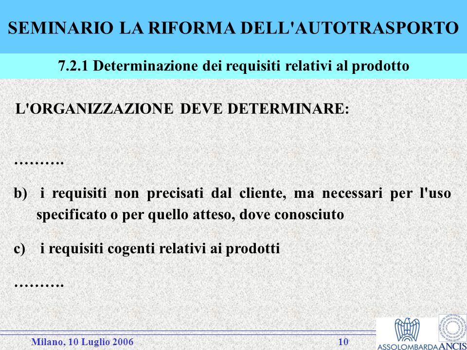 Milano, 10 Luglio 200610 SEMINARIO LA RIFORMA DELL AUTOTRASPORTO 7.2.1 Determinazione dei requisiti relativi al prodotto L ORGANIZZAZIONE DEVE DETERMINARE: ……….