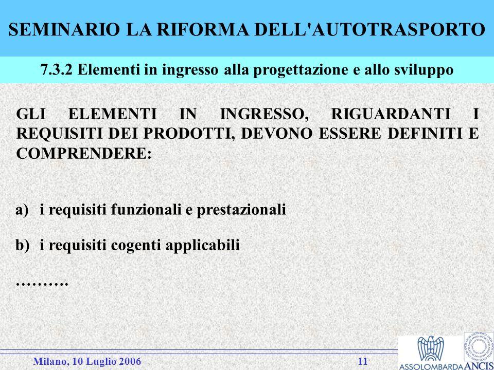 Milano, 10 Luglio 200611 SEMINARIO LA RIFORMA DELL AUTOTRASPORTO 7.3.2 Elementi in ingresso alla progettazione e allo sviluppo GLI ELEMENTI IN INGRESSO, RIGUARDANTI I REQUISITI DEI PRODOTTI, DEVONO ESSERE DEFINITI E COMPRENDERE: a)i requisiti funzionali e prestazionali b)i requisiti cogenti applicabili ……….