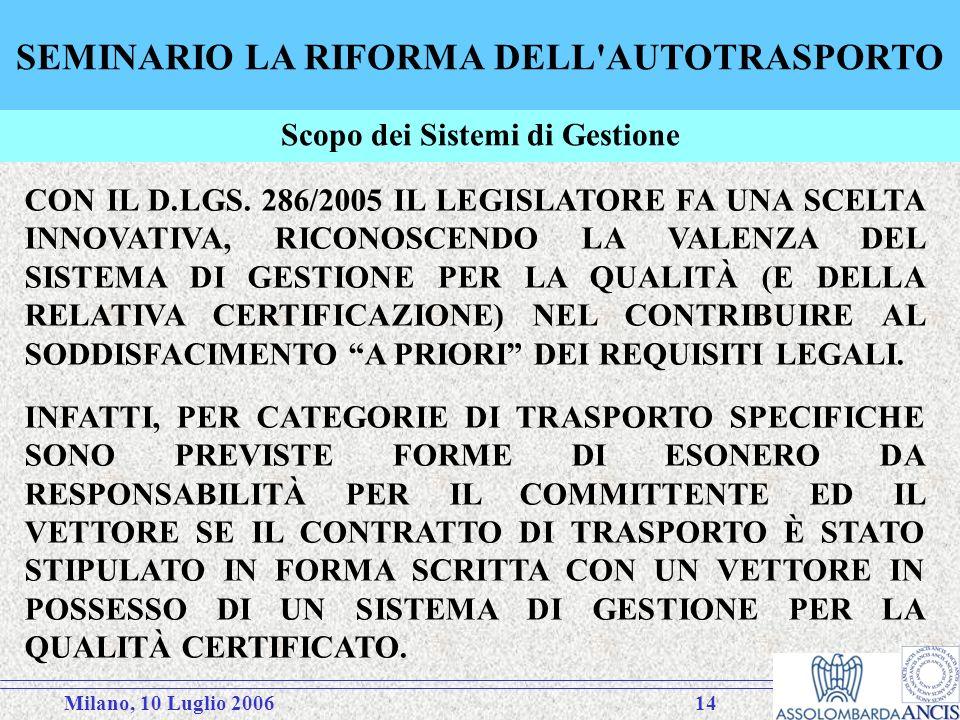 Milano, 10 Luglio 200614 SEMINARIO LA RIFORMA DELL AUTOTRASPORTO CON IL D.LGS.