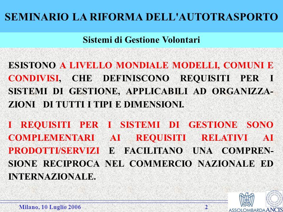 Milano, 10 Luglio 20063 SEMINARIO LA RIFORMA DELL AUTOTRASPORTO A LIVELLO GENERALE (LISO CONTA OLTRE 120 PAESI MEMBRI), SONO STATE ADOTTATE DAL 1987 LE NORME DELLA SERIE ISO 9000 PER I SISTEMI DI GESTIONE PER LA QUALITÀ.