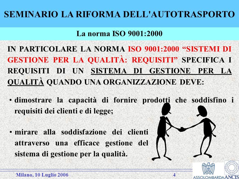 Milano, 10 Luglio 20064 SEMINARIO LA RIFORMA DELL AUTOTRASPORTO IN PARTICOLARE LA NORMA ISO 9001:2000 SISTEMI DI GESTIONE PER LA QUALITÀ: REQUISITI SPECIFICA I REQUISITI DI UN SISTEMA DI GESTIONE PER LA QUALITÀ QUANDO UNA ORGANIZZAZIONE DEVE: mirare alla soddisfazione dei clienti attraverso una efficace gestione del sistema di gestione per la qualità.