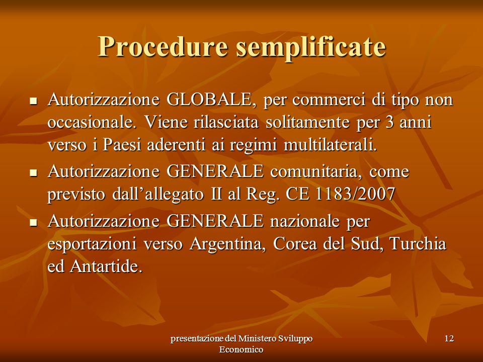 presentazione del Ministero Sviluppo Economico 12 Procedure semplificate Autorizzazione GLOBALE, per commerci di tipo non occasionale. Viene rilasciat