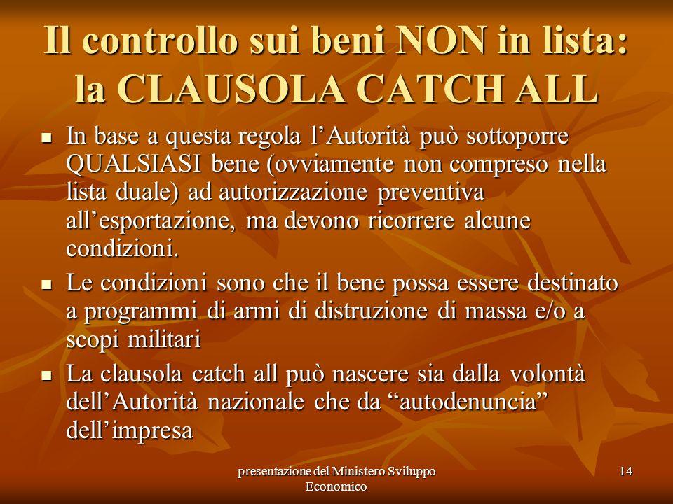 presentazione del Ministero Sviluppo Economico 14 Il controllo sui beni NON in lista: la CLAUSOLA CATCH ALL In base a questa regola lAutorità può sott