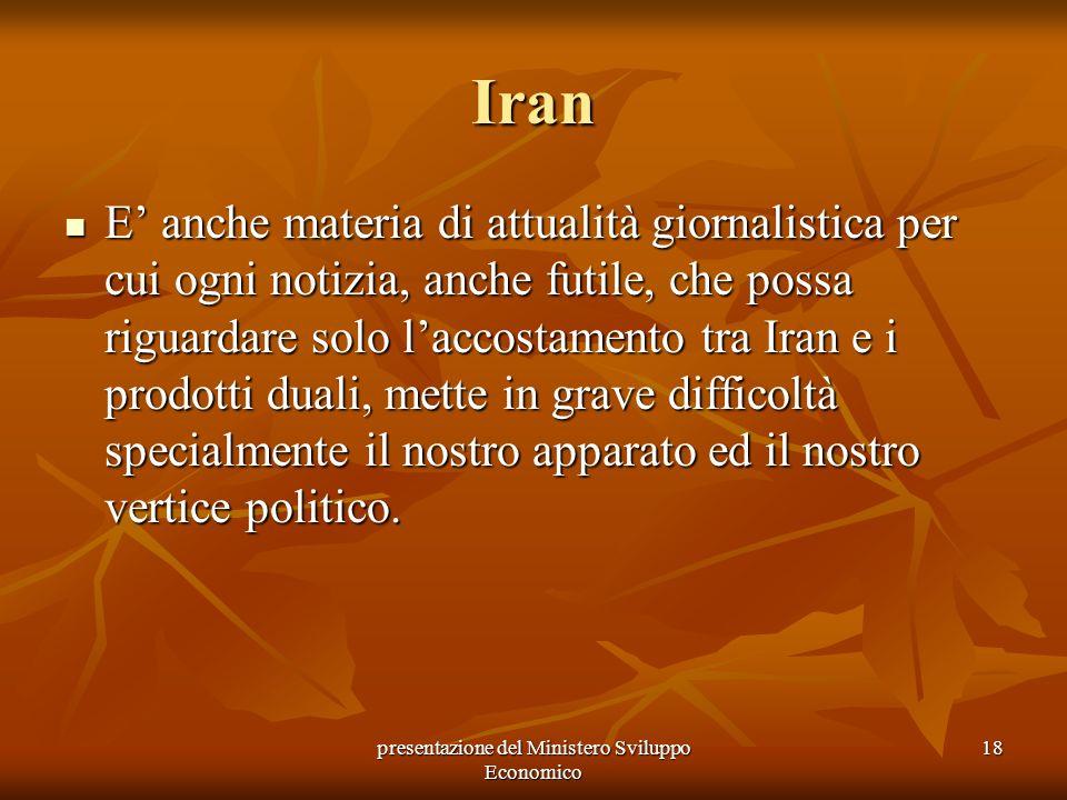 presentazione del Ministero Sviluppo Economico 18 Iran E anche materia di attualità giornalistica per cui ogni notizia, anche futile, che possa riguar