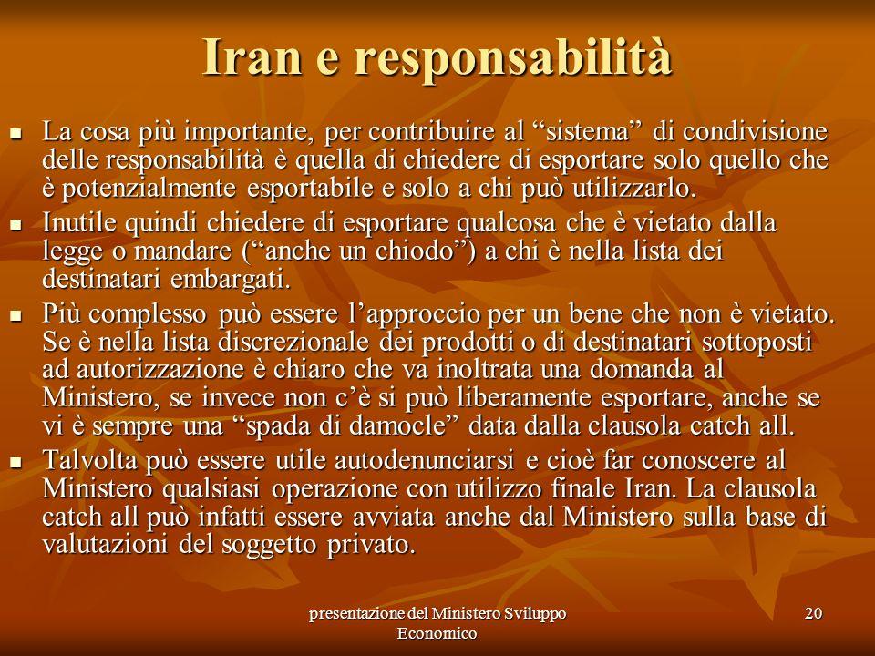 presentazione del Ministero Sviluppo Economico 20 Iran e responsabilità La cosa più importante, per contribuire al sistema di condivisione delle respo