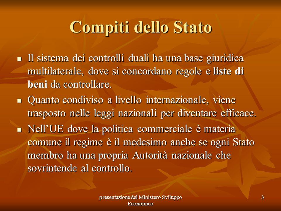 presentazione del Ministero Sviluppo Economico 3 Compiti dello Stato Il sistema dei controlli duali ha una base giuridica multilaterale, dove si conco