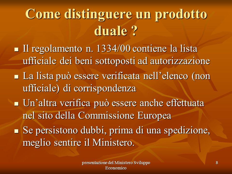 presentazione del Ministero Sviluppo Economico 8 Come distinguere un prodotto duale ? Il regolamento n. 1334/00 contiene la lista ufficiale dei beni s