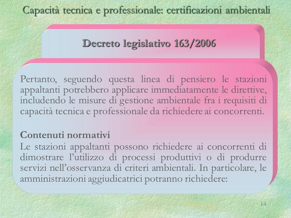 14 Capacità tecnica e professionale: certificazioni ambientali Capacità tecnica e professionale: certificazioni ambientali Decreto legislativo 163/200