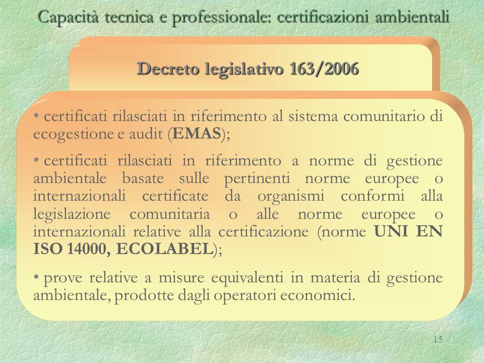 15 Capacità tecnica e professionale: certificazioni ambientali Capacità tecnica e professionale: certificazioni ambientali Decreto legislativo 163/200
