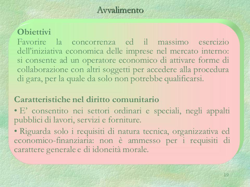 19 Avvalimento Avvalimento Obiettivi Favorire la concorrenza ed il massimo esercizio delliniziativa economica delle imprese nel mercato interno: si co