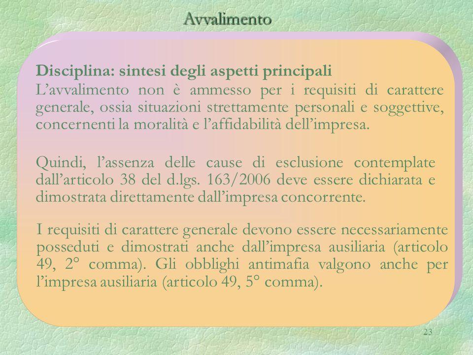 23 Avvalimento Avvalimento Disciplina: sintesi degli aspetti principali Lavvalimento non è ammesso per i requisiti di carattere generale, ossia situaz