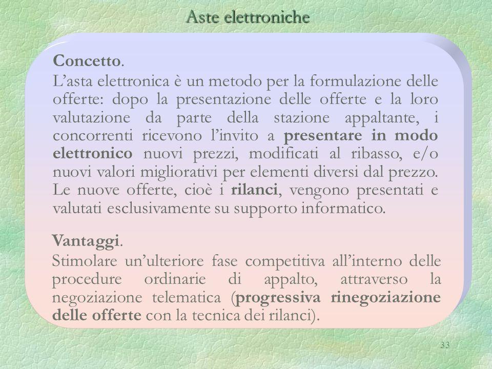 33 Aste elettroniche Aste elettroniche Concetto. Lasta elettronica è un metodo per la formulazione delle offerte: dopo la presentazione delle offerte