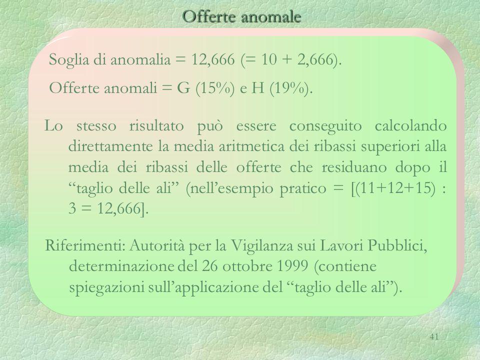 41 Offerte anomale Offerte anomale Soglia di anomalia = 12,666 (= 10 + 2,666). Offerte anomali = G (15%) e H (19%). Riferimenti: Autorità per la Vigil