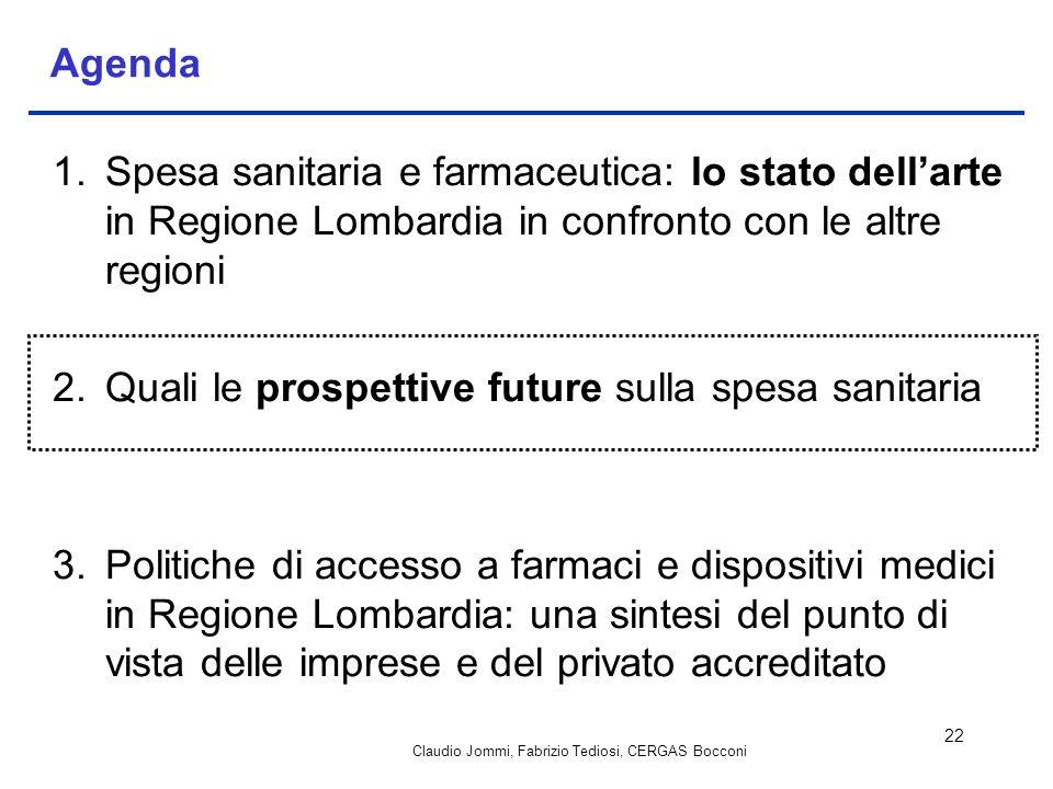 Claudio Jommi, Fabrizio Tediosi, CERGAS Bocconi 22 Agenda 1.Spesa sanitaria e farmaceutica: lo stato dellarte in Regione Lombardia in confronto con le