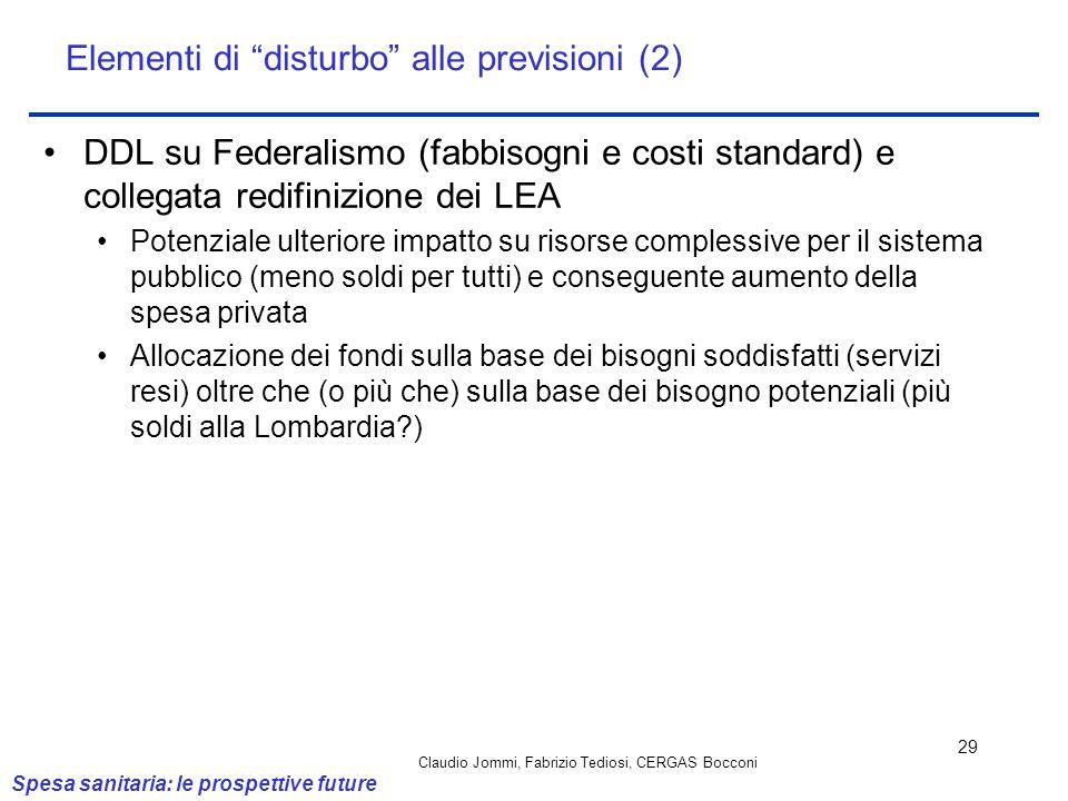 Claudio Jommi, Fabrizio Tediosi, CERGAS Bocconi 29 DDL su Federalismo (fabbisogni e costi standard) e collegata redifinizione dei LEA Potenziale ulter