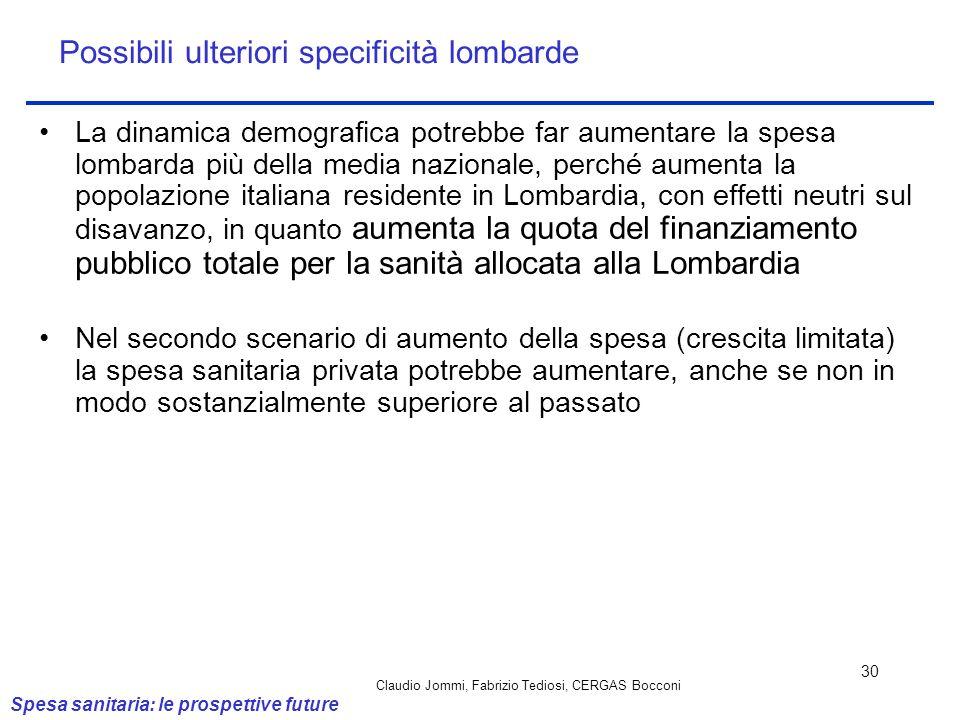 Claudio Jommi, Fabrizio Tediosi, CERGAS Bocconi 30 Possibili ulteriori specificità lombarde La dinamica demografica potrebbe far aumentare la spesa lo