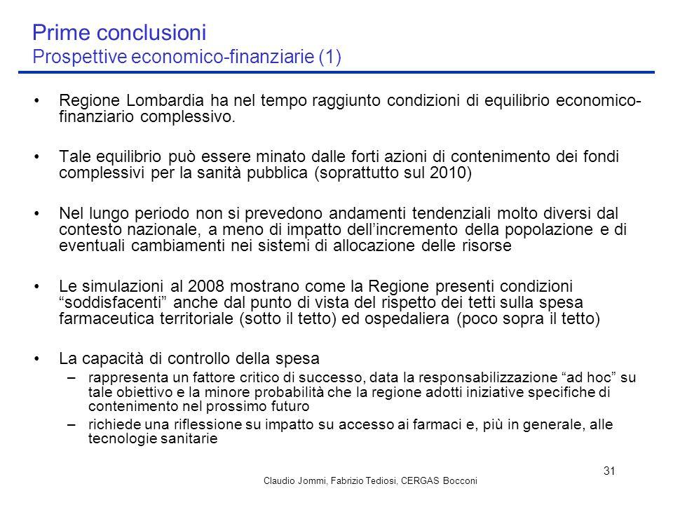 Claudio Jommi, Fabrizio Tediosi, CERGAS Bocconi 31 Prime conclusioni Prospettive economico-finanziarie (1) Regione Lombardia ha nel tempo raggiunto co