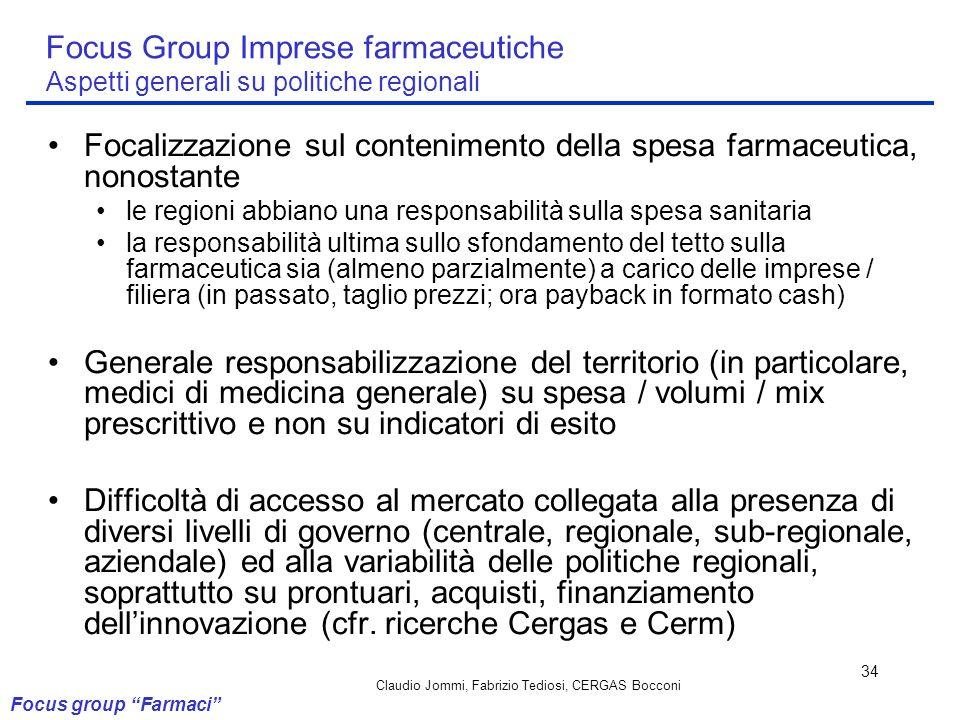 Claudio Jommi, Fabrizio Tediosi, CERGAS Bocconi 34 Focus Group Imprese farmaceutiche Aspetti generali su politiche regionali Focalizzazione sul conten
