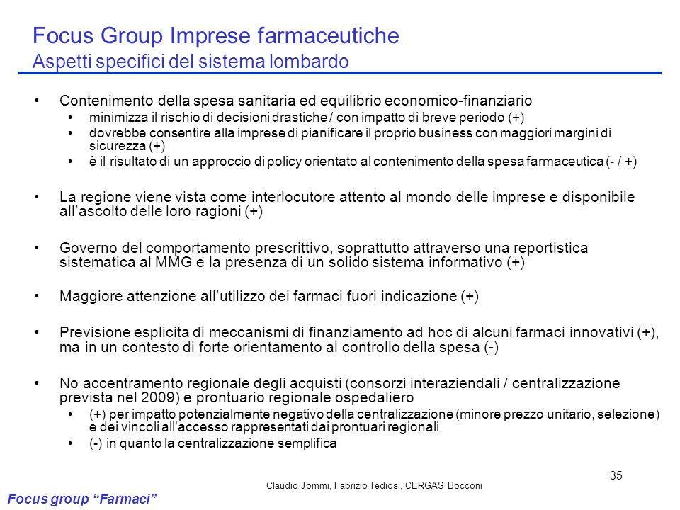 Claudio Jommi, Fabrizio Tediosi, CERGAS Bocconi 35 Focus Group Imprese farmaceutiche Aspetti specifici del sistema lombardo Contenimento della spesa s