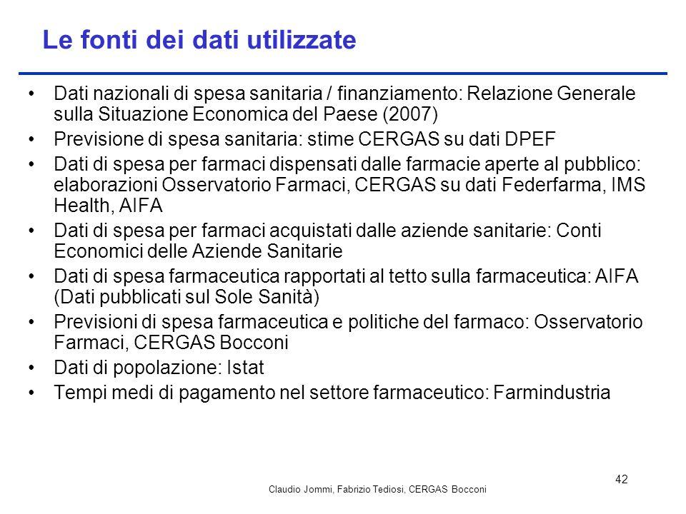 Claudio Jommi, Fabrizio Tediosi, CERGAS Bocconi 42 Le fonti dei dati utilizzate Dati nazionali di spesa sanitaria / finanziamento: Relazione Generale