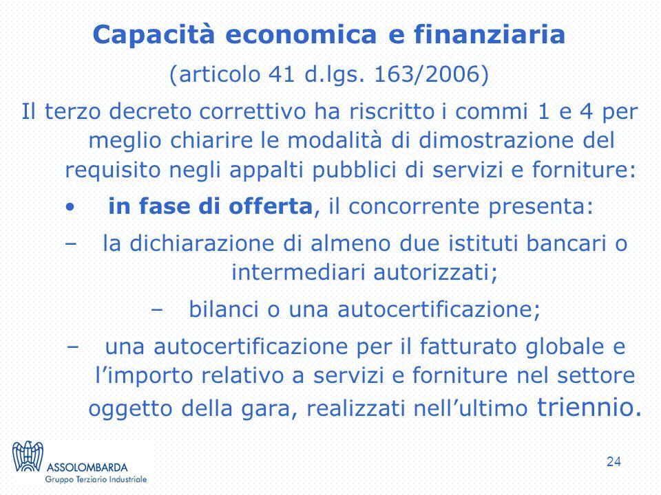24 Capacità economica e finanziaria (articolo 41 d.lgs.