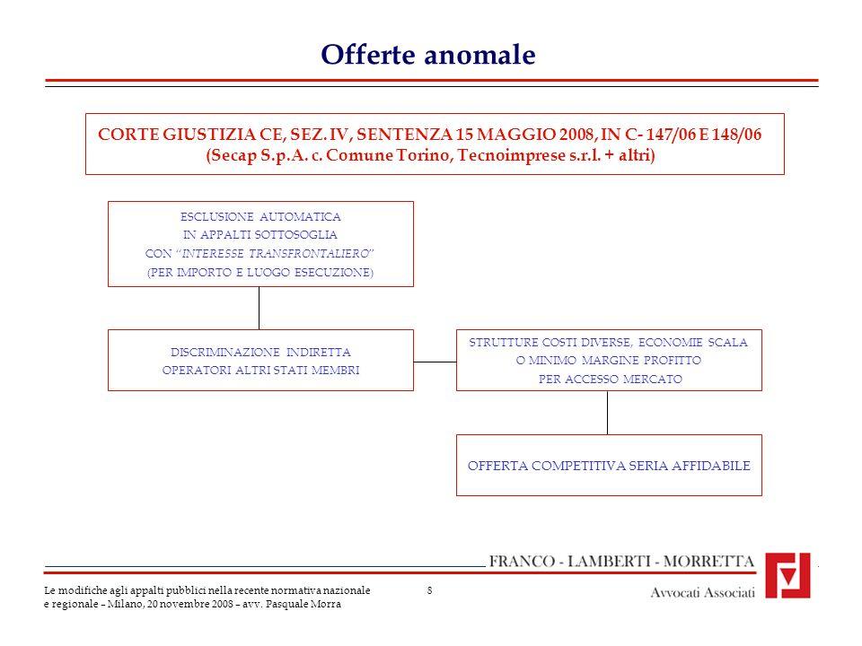 8 Offerte anomale Le modifiche agli appalti pubblici nella recente normativa nazionale e regionale – Milano, 20 novembre 2008 – avv.
