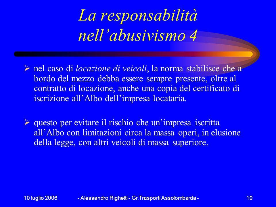 10 luglio 2006- Alessandro Righetti - Gr.Trasporti Assolombarda -9 La responsabilità nellabusivismo 3 La confisca amministrativa: è lincorporazione de