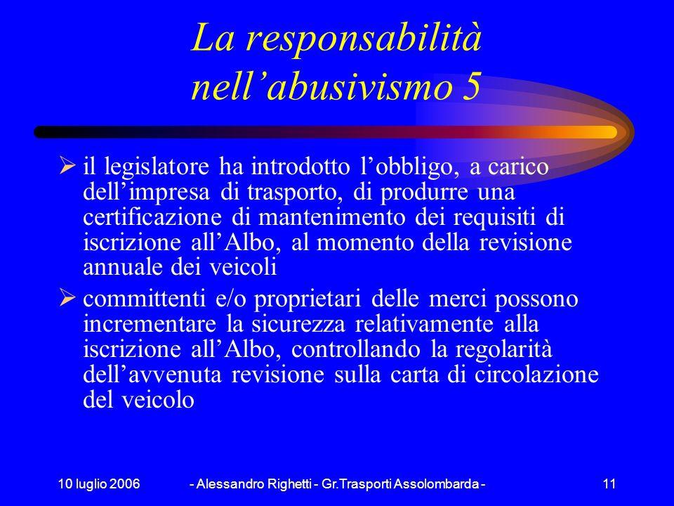 10 luglio 2006- Alessandro Righetti - Gr.Trasporti Assolombarda -10 La responsabilità nellabusivismo 4 nel caso di locazione di veicoli, la norma stab