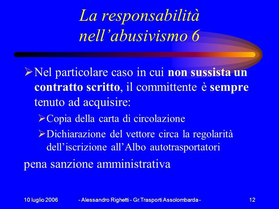 10 luglio 2006- Alessandro Righetti - Gr.Trasporti Assolombarda -11 La responsabilità nellabusivismo 5 il legislatore ha introdotto lobbligo, a carico