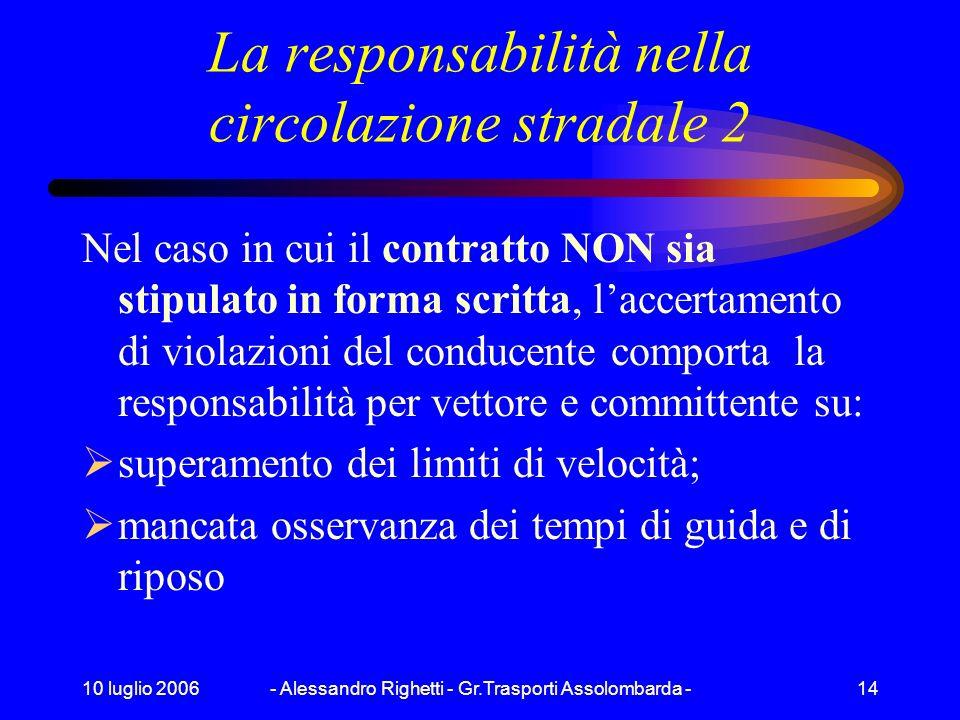 10 luglio 2006- Alessandro Righetti - Gr.Trasporti Assolombarda -13 La responsabilità nella circolazione stradale 1 Nel caso in cui il contratto sia s