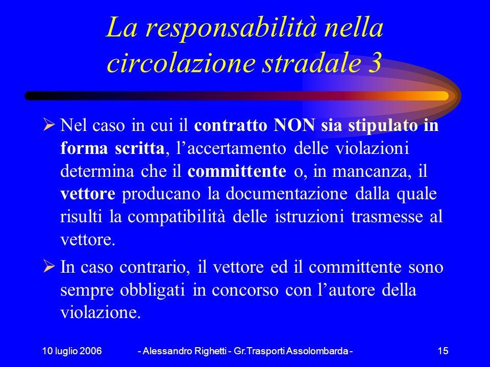 10 luglio 2006- Alessandro Righetti - Gr.Trasporti Assolombarda -14 La responsabilità nella circolazione stradale 2 Nel caso in cui il contratto NON s